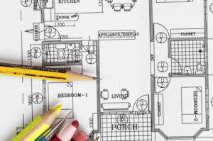 Floor plan and pencil.