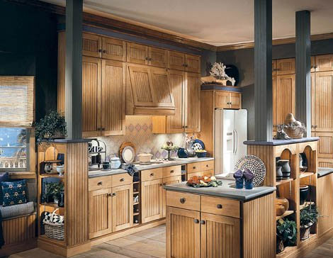Brown kitchen cabinets.