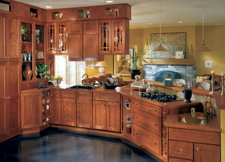 Rust color kitchen cabinet.