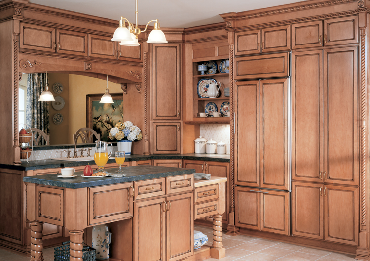 Tall rustic kitchen and table cabinets.