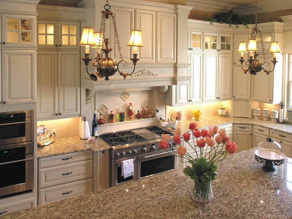 Elegant cream kitchen cabinet.